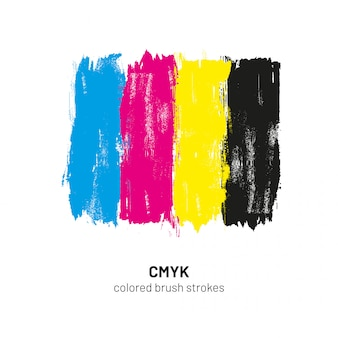 Cmyk colored brush strokes vector illustration