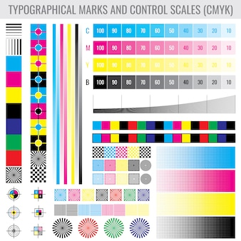 Cmyk press print marks and colour tone gradient bars for printer test set