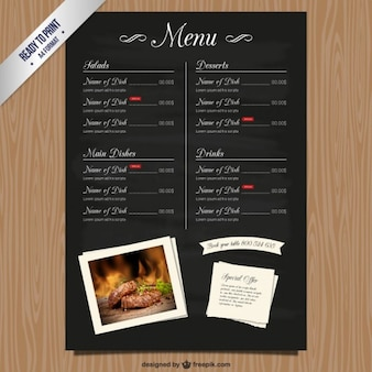 Cmyk restaurant menu list