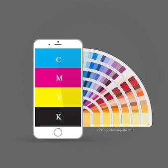 Смартфон с руководством по цветовой палитре cmyk, концепция для мобильных приложений
