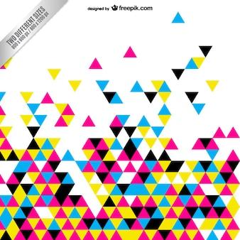 カラフルな三角形とcmyk抽象的な背景