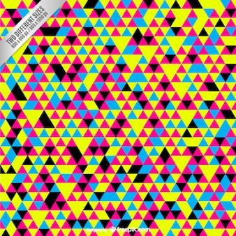 カラフルな小さな三角形とcmykの背景