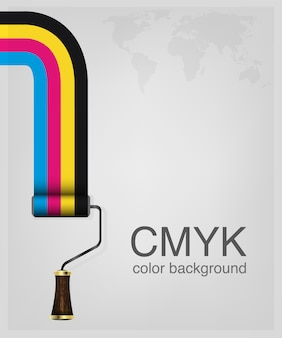 Cmyk。色のペイントローラーを印刷します。