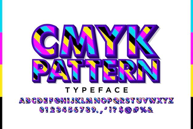 Современный алфавит с цветами cmyk