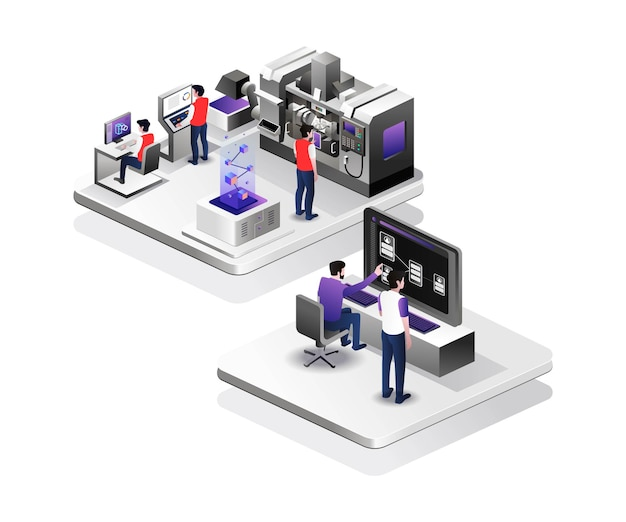 Cnc factory monitoring center in isometric design