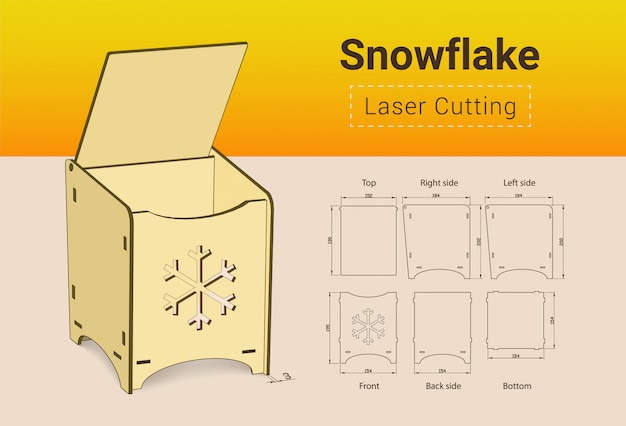 Cnc. laser cutting box. laser cut. no glue need. for 3 mm plywood. size 195x154x184 mm.