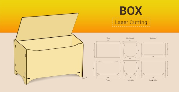 Cnc. laser cutting box. no glue.  illustration.