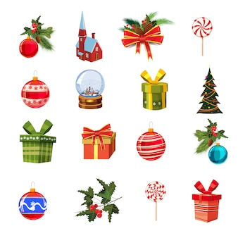 Рождественский набор с сосновыми ветками, украшениями, конфетами, лентами, коробками подарков, cnow globe, сосной, елочными шарами