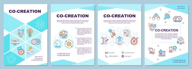 共同作成テンプレート。新会社の製品のアイデア。チラシ、小冊子、リーフレットプリント、線形アイコンのカバーデザイン。雑誌、年次報告書、広告ポスターのレイアウト