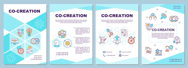 Co creation  template. new company product ideas. flyer, booklet, leaflet print, cover design with linear icons.  layouts for magazines, annual reports, advertising posters