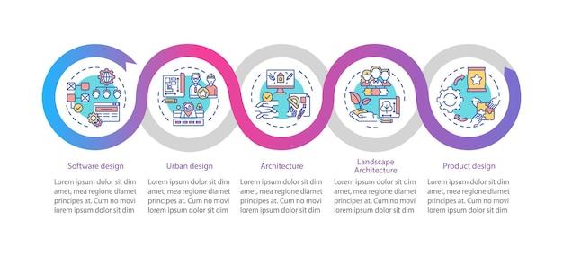 共同設計フィールドのインフォグラフィックテンプレート。ソフトウェア設計、アーキテクチャプレゼンテーション設計要素。 5つのステップによるデータの視覚化。タイムラインチャートを処理します。線形アイコンのワークフローレイアウト