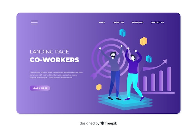 Co-workers concept for landing page