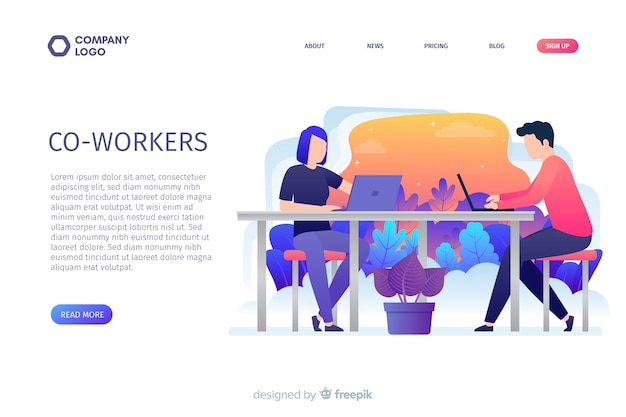 Co-workers landing page concept