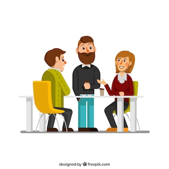 Co-workers scene Free Vector