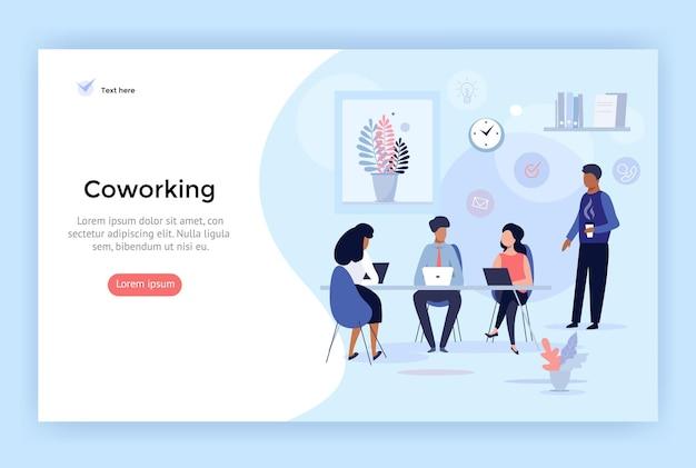 Co рабочее пространство бизнес-команда концепция иллюстрации идеально подходит для веб-дизайна