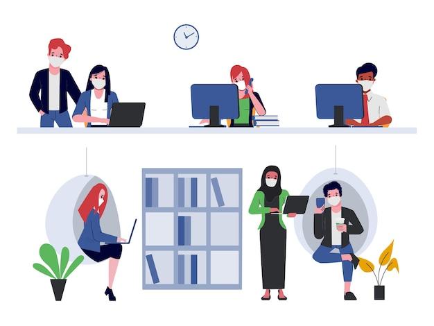 新しい通常のオフィススタイルのコワーキングスペース。フェイスマスクを着用しているすべての人。