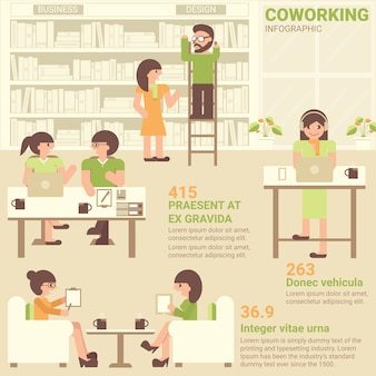 Co-working space infographic flat design