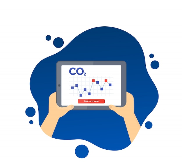 Co2, carbon emissions levels chart on tablet screen,