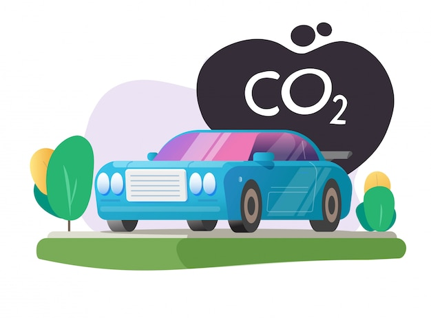Co2 carbon pollution and emission cloud vector from car automobile vehicle