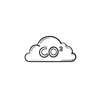 Co2 구름 손으로 그린 개요 낙서 아이콘입니다. 대기 오염 개념입니다. 인쇄, 웹, 모바일 및 흰색 배경에 고립 된 인포 그래픽에 대 한 구름 벡터 그래픽 스케치 그림에 이산화탄소 공식