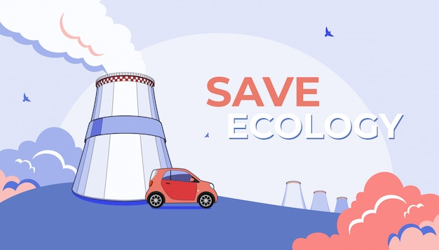 Co2 emission pollution illustration. smoking cooling tower, factory fog and micro car.