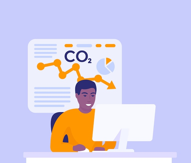 Co2 gas, carbon emission reduction, man analyzing data at computer