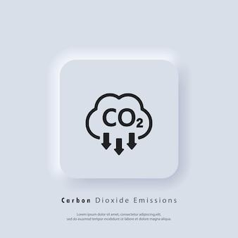 Co2アイコン。二酸化炭素排出量のアイコンまたはロゴ。 co2排出量。ベクターeps10。neumorphic uiuxの白いユーザーインターフェイスのwebボタン。ニューモルフィズム