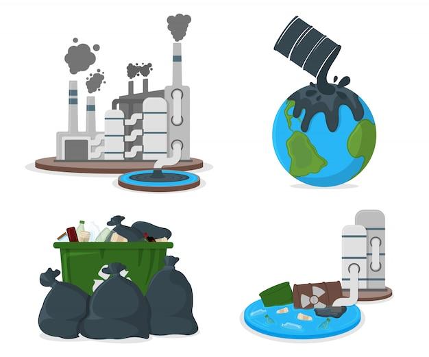 Значок концепции загрязнения нефтью. загрязнение земли нефтью и co2. фабрика катастрофа карикатура иллюстрации