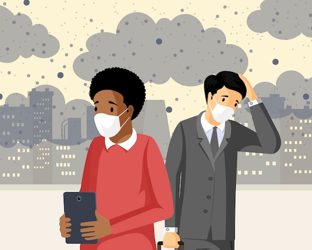 スモッグフラットベクトル図を吸い込む人々。産業排出、co2の健康への悪影響、汚染された都市のガス廃棄物。有毒な汚染物質に苦しんでいる、呼吸障害のある悲しい男性