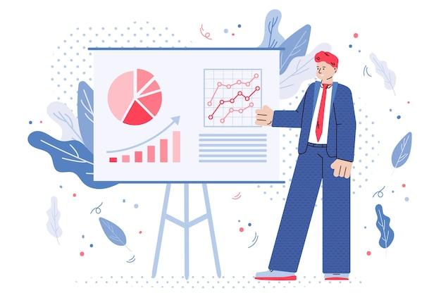 Тренер на бизнес-конференции или презентации, плоские векторные иллюстрации изолированы.