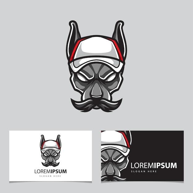 Карточка с логотипом талисмана головы собаки тренера