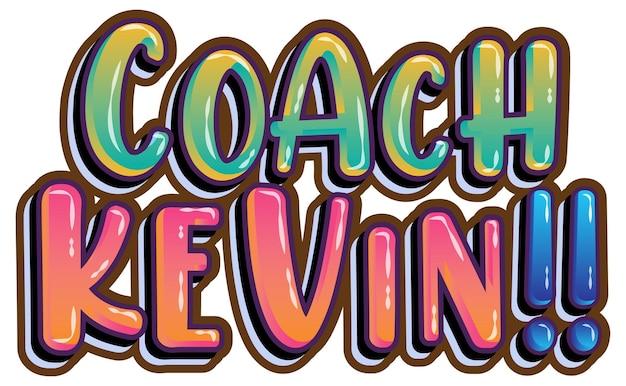 Disegno del testo del logo dell'allenatore kevin