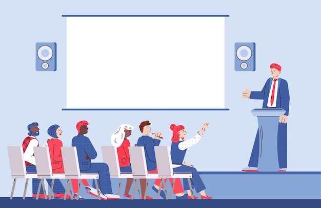 Coach speaker and group people meeting at business presentation or conference