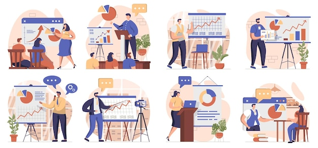 Coach speaking collection of scenes isolated people learn at business training career development