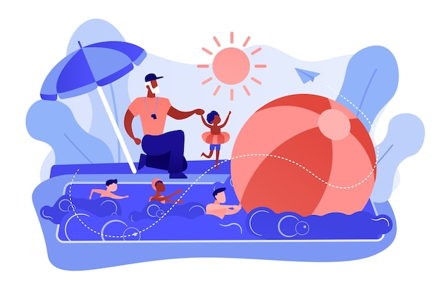 Тренер обучает и дети учатся плавать в бассейне в летнем лагере, крохотные человечки. плавательный лагерь, тренировки на открытой воде, концепция курсов для лучших пловцов. розовый коралловый синий вектор изолированных иллюстрация