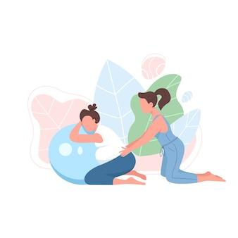 妊婦フラットカラー顔のないキャラクターとコーチ。出生前の運動。エアロビクスボールを持つ少女。ウェブグラフィックデザインとアニメーションのための妊娠フィットネス分離漫画イラスト