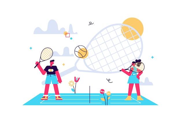 小さな人々、サマーキャンプでラケットを使って練習しているコートのコーチと子供たち。テニスキャンプ、テニスアカデミー、ジュニアテニストレーニングのコンセプト。明るく活気のあるバイオレット分離イラスト