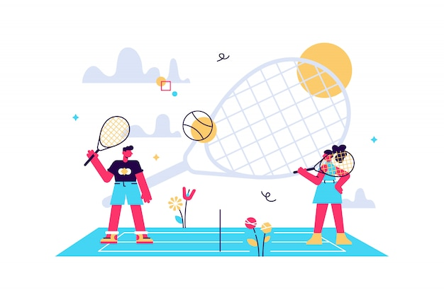 Coaches and kids on the court practicing with rackets in summer camp, tiny people. tennis camp, tennis academy, junior tennis training concept. bright vibrant violet isolated illustration