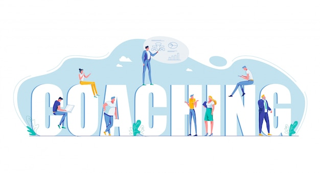 Coaching capital letters motivation flat banner