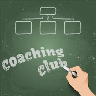 Coaching club written in chalk on a blackboard