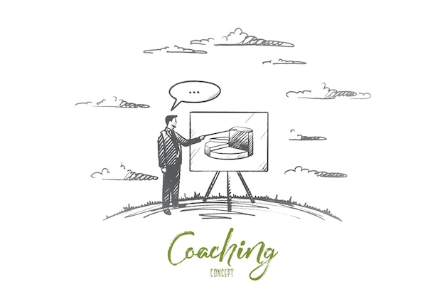 Coaching concept. hand drawn man coach near board. male person in suit with pointer coaching isolated illustration.