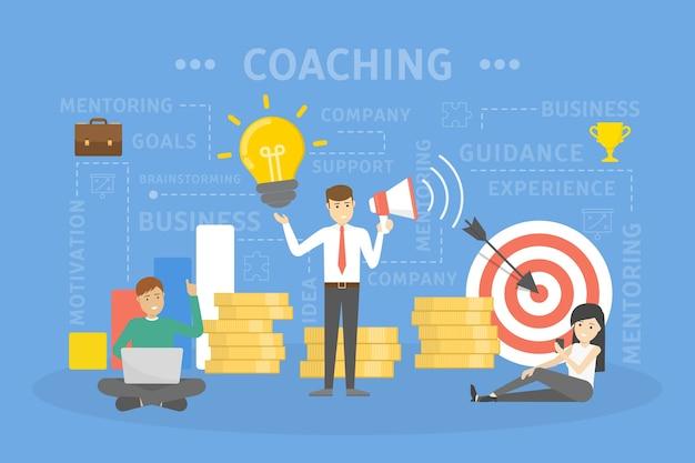 コーチングの概念図。ガイダンス、教育、動機および改善。サポートとビジネストレーニングのアイデア。