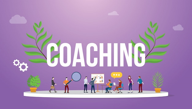 Coaching concept with people teching and discussion to share