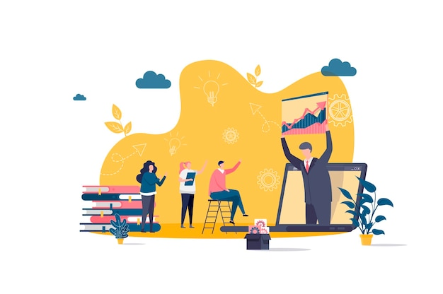 Coaching flat concept with people characters  illustration