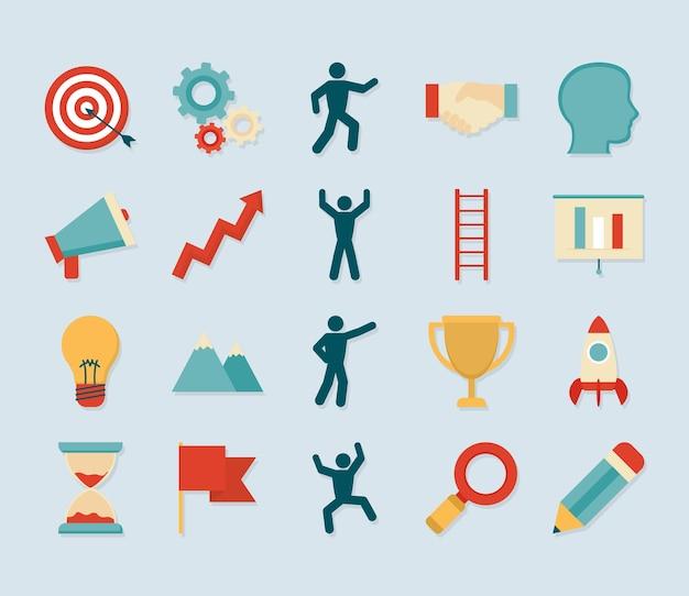 Coaching icon set on blue background