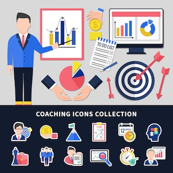 Coaching icons set