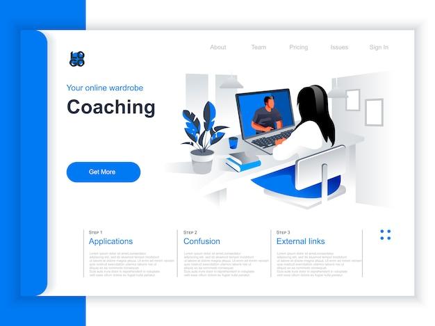 コーチング等尺性ランディングページ。オフィスの状況でビジネスコーチとオンラインウェビナーを見ている女性。ビジネス教育とスキル開発、モチベーションとメンタリング視点のフラットデザイン。
