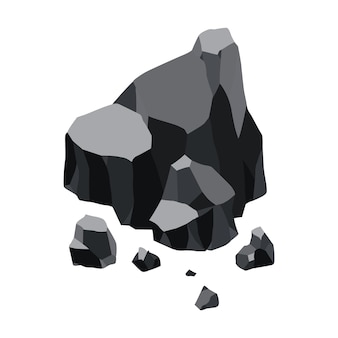 Уголь черный минеральных ресурсов иллюстрации дизайн
