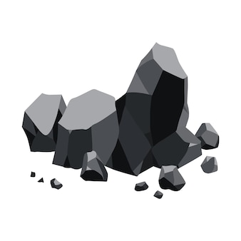 Coal black mineral resources. pieces of fossil stone.