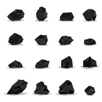 Coal cartoon set isolated